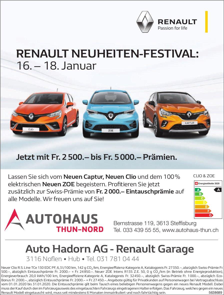 RENAULT NEUHEITEN-FESTIVAL, ab 16. Januar, AUTOHAUS THUN-NORD, Steffisburg & Auto Hadorn AG,  Noflen