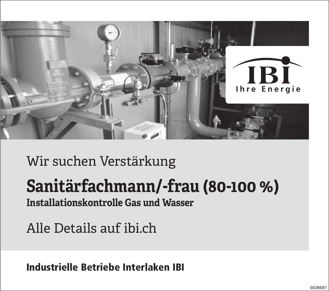 Sanitärfachmann/-frau (80-100 %) bei IBI gesucht