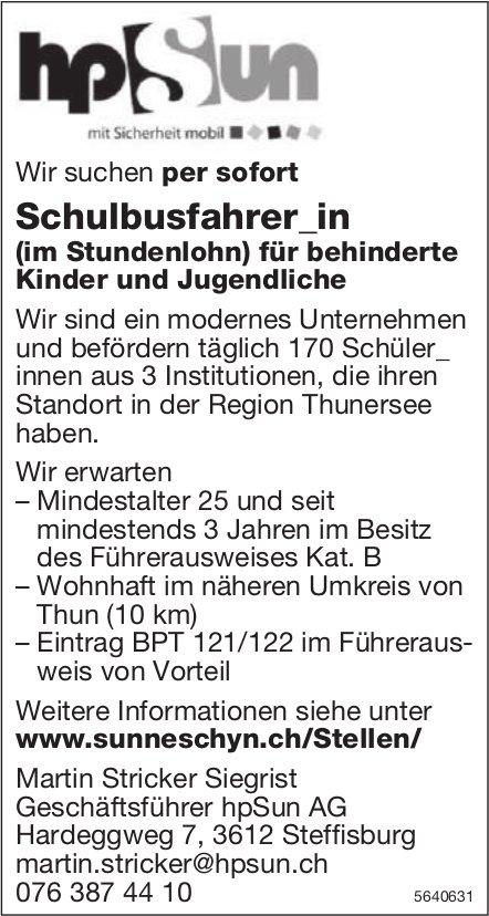 Schulbusfahrer/in, hpSun AG, Steffisburg, gesucht