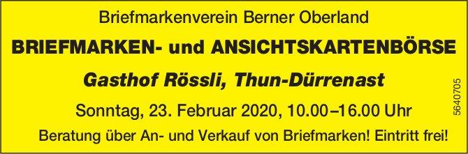 BRIEFMARKEN- und ANSICHTSKARTENBÖRSE, 23. Februar, Briefmarkenverein Berner Oberland