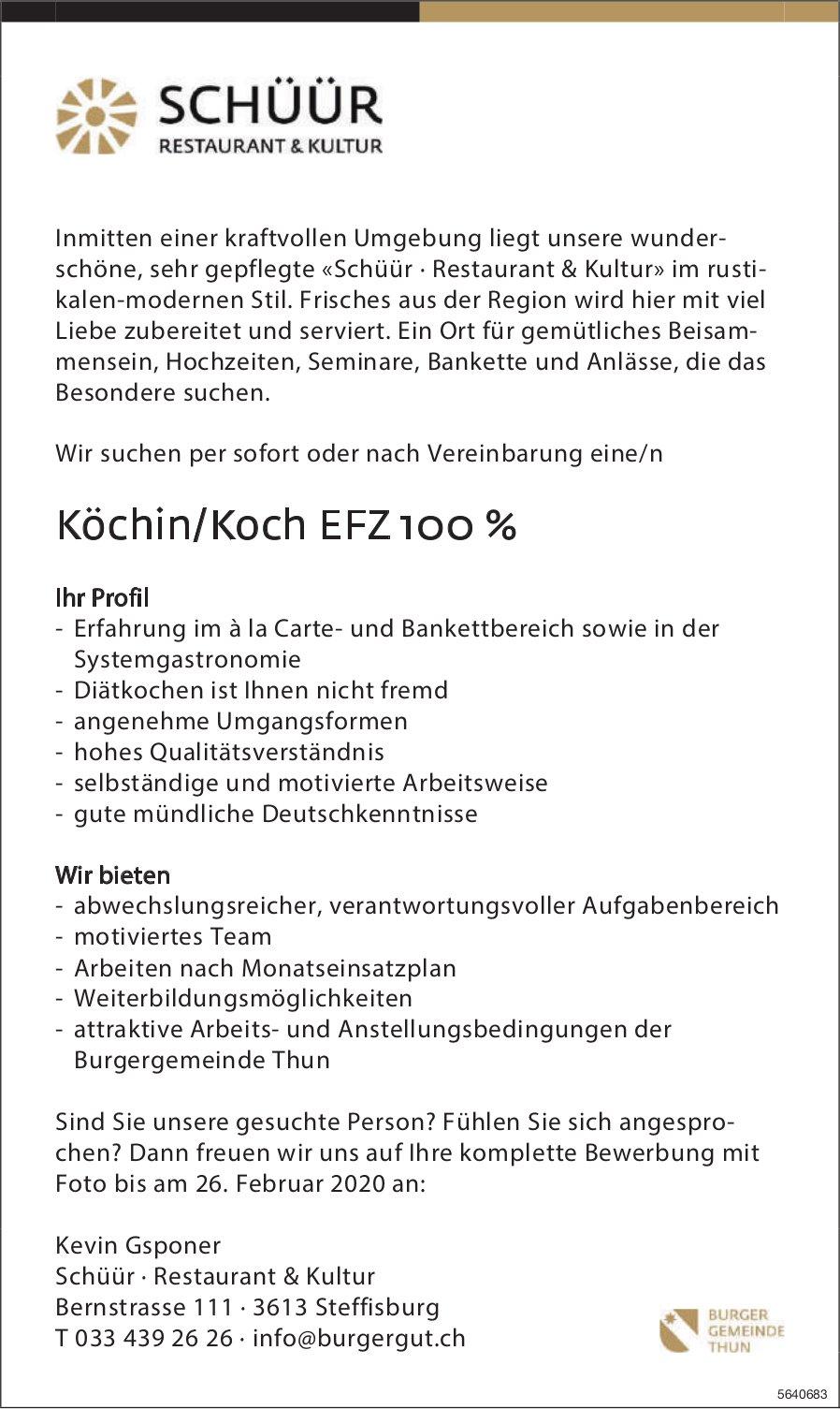Köchin/Koch EFZ 100 %, Schüür, Restaurant & Kultur, Steffisburg, gesucht