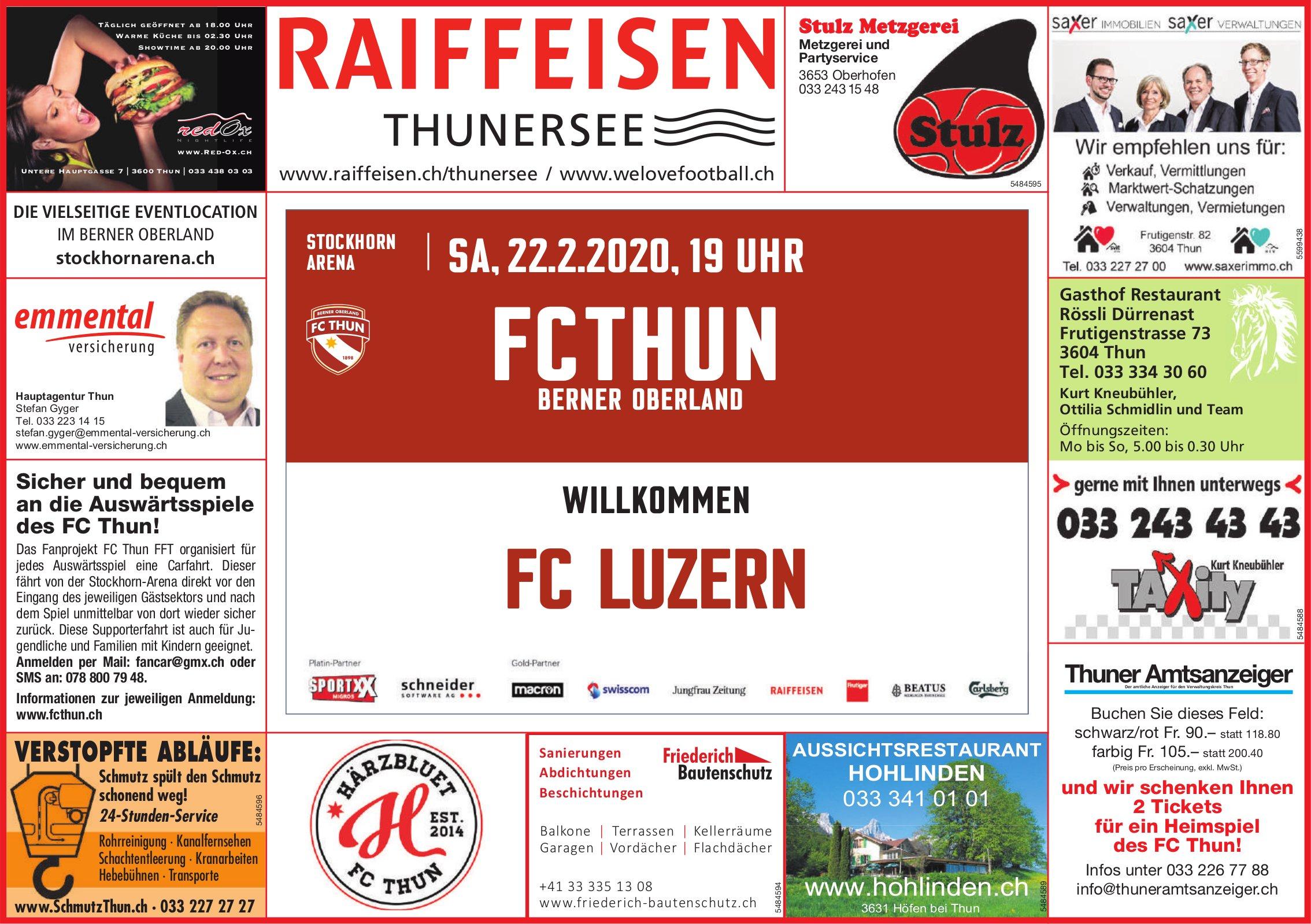 FC Thun Berner Oberland willkommen FC Luzern am 22. Februar