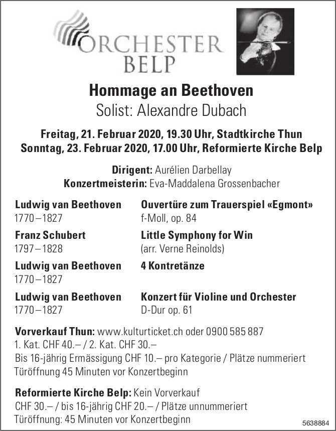 Hommage an Beethoven 21. + 23. Februar, Orchester Belp