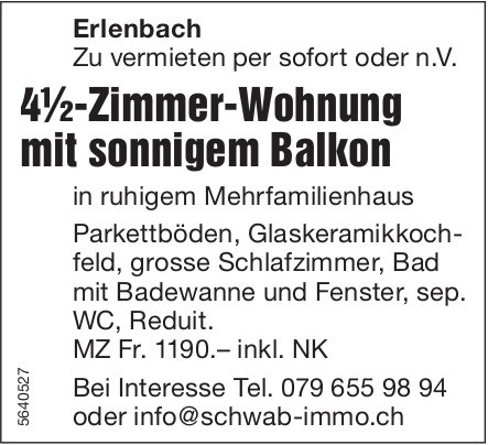 4.5 Zimmer-Wohnung, Erlenbach, zu vermieten