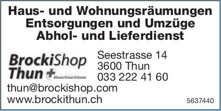 BrockiShop Thun - Haus- und Wohnungsräumungen/ Entsorgungen und Umzüge