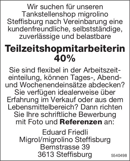Teilzeitshopmitarbeiterin 40%, Migrol/migrolino, Steffisburg, gesucht