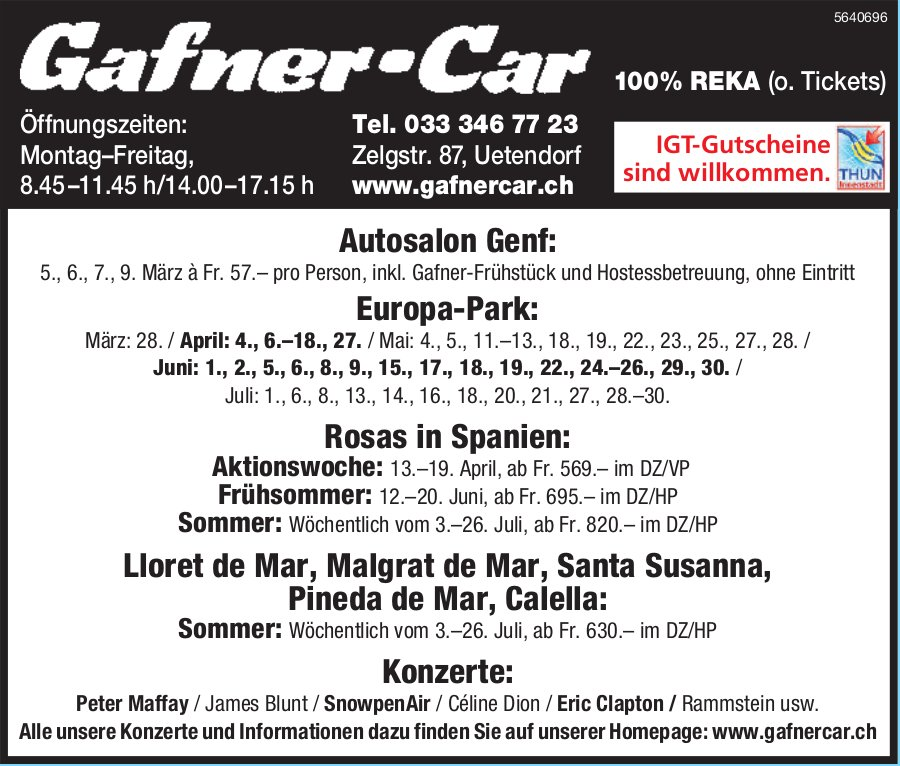 Programm & Events, 26. Juli, Gafner-Car,  Uetendorf
