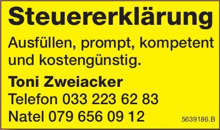 Toni Zweiacker, Steuererklärung: Ausfüllen, prompt, kompetent und kostengünstig.