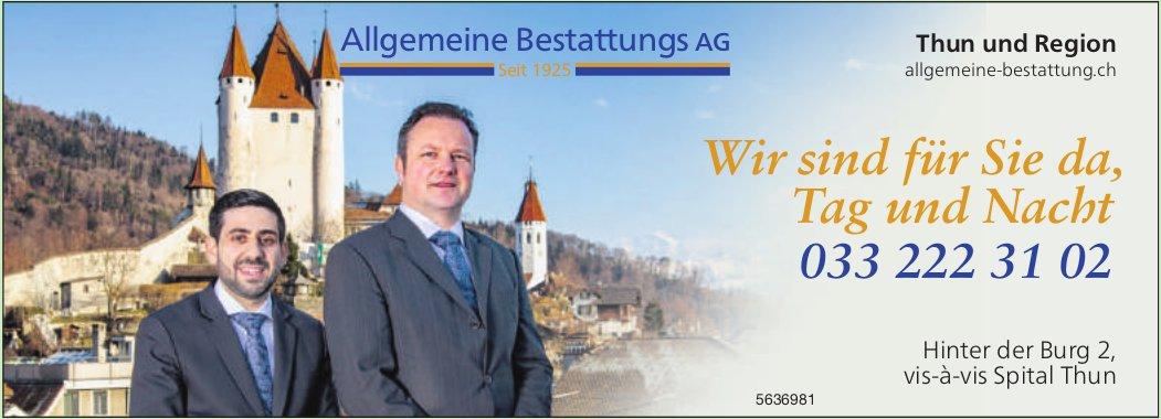 Allgemeine Bestattungs AG, Thun und Region - Wir sind für Sie da, Tag und Nacht