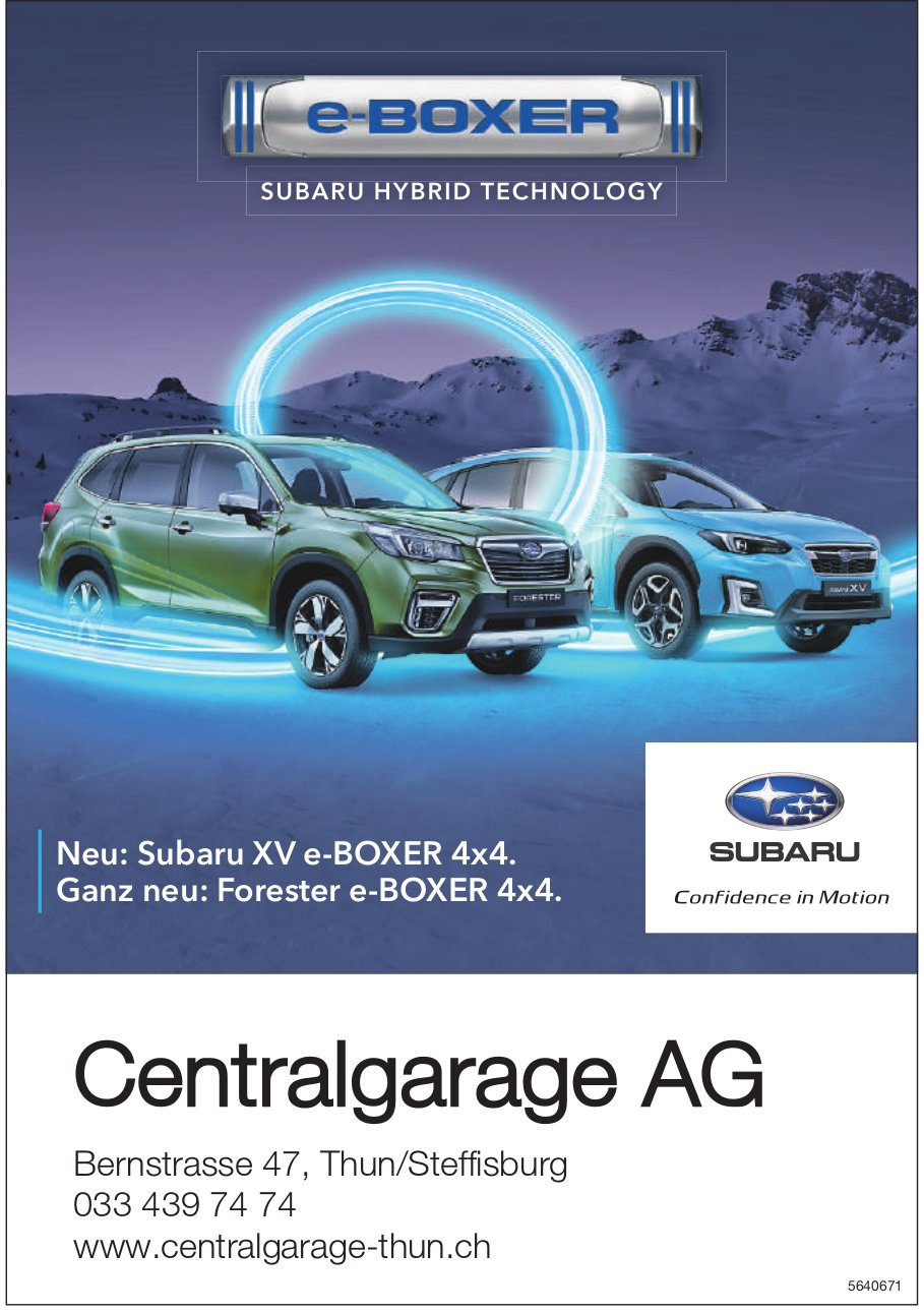 Centralgarage AG, Neu: Subaru XV e-BOXER 4x4 & Forester e-BOXER 4x4