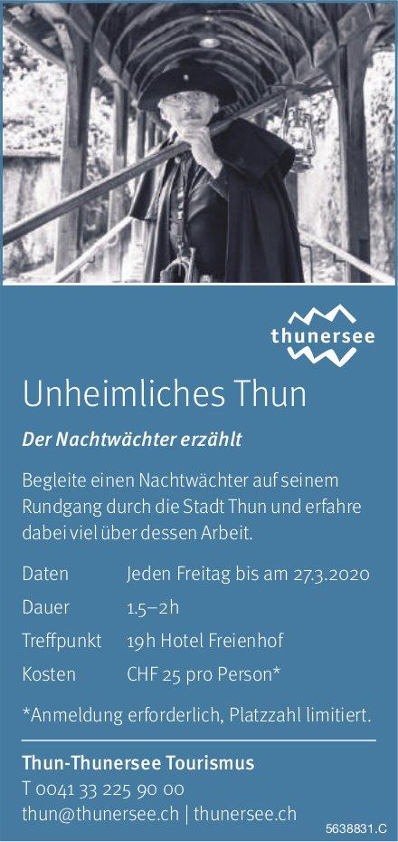 Unheimliches Thun: Der Nachtwächter erzählt jeden Freitag bis 27. März, Thun-Thunersee Tourismus