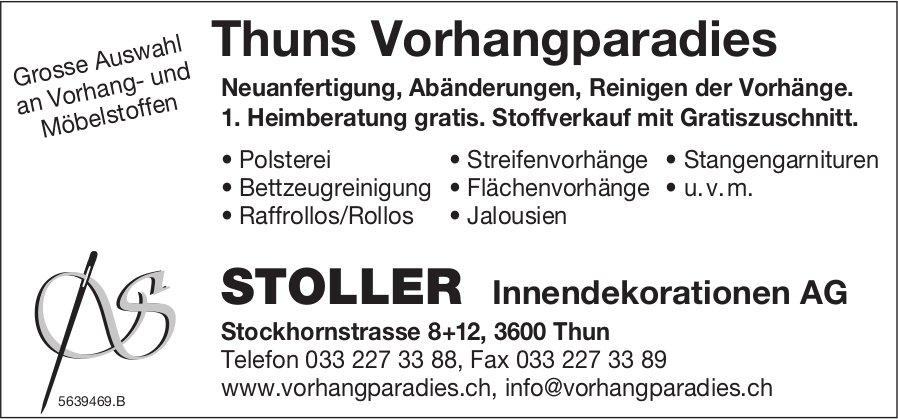 STOLLER Innendekorationen AG, Thuns Vorhangparadies