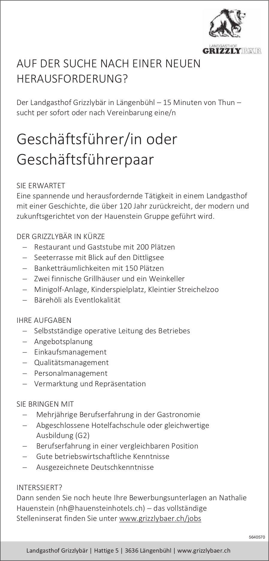 Geschäftsführer/in oder Geschäftsführerpaar, Landgasthof Grizzlybär,  Längenbühl, gesucht