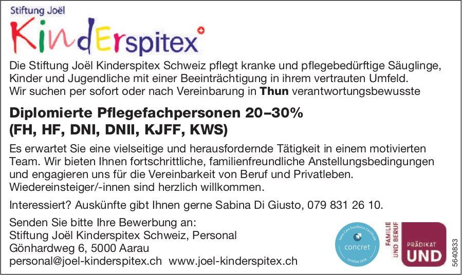 Diplomierte Pflegefachpersonen 20–30%, Stiftung Joël Kinderspitex Schweiz, Aarau, gesucht