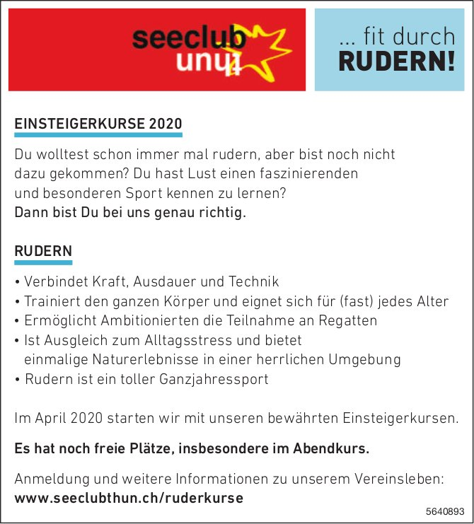 Seeclub Thun - EINSTEIGERKURSE 2020/ RUDERN