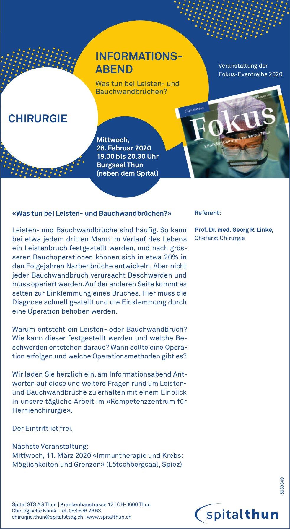 Informationsabend «Was tun bei Leisten- und Bauchwandbrüchen?» am 26. Feb., Spital Thun