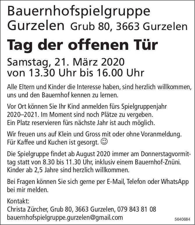 Bauernhofspielgruppe Gurzelen - Tag der offenen Tür am 21. März