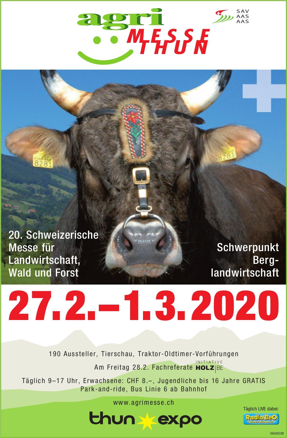 Agri-Messe Thun, 27. Februar bis 01. März, Thun Expo