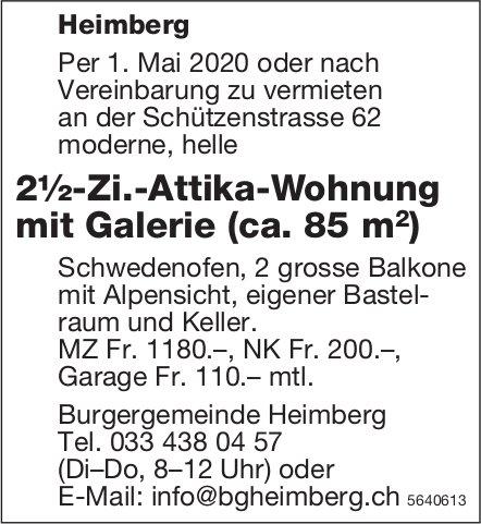 2½-Zi.-Attika-Wohnung mit Galerie (ca. 85 m2) in Heimberg zu vermieten