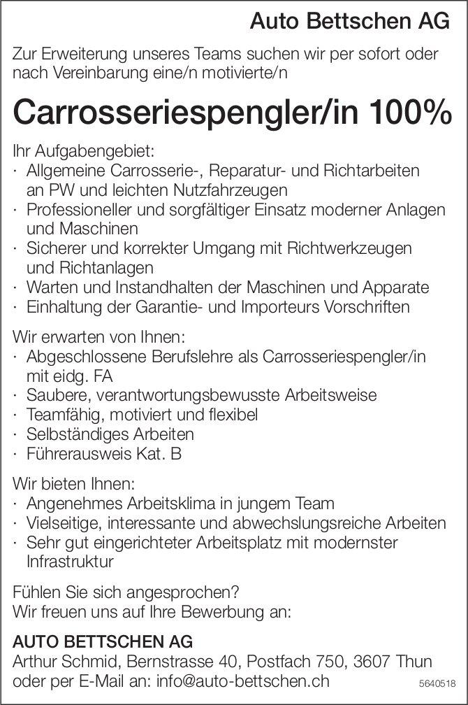 Carrosseriespengler/in 100%, Auto Bettschen AG, Thun, gesucht
