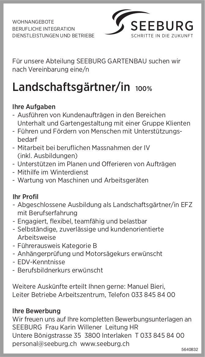 Landschaftsgärtner/in 100%, SEEBURG GARTENBAU,  Interlaken, gesucht