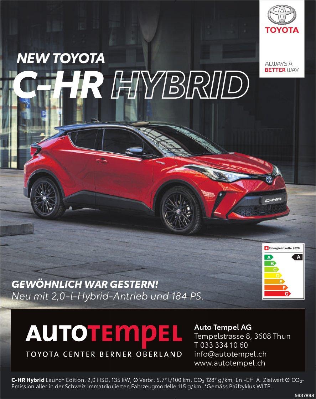 Auto Tempel AG, Thun - NEW TOYOTA C-HR HYBRID