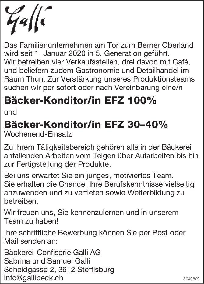 Bäcker-Konditor/in EFZ 100% + 30–40%, Bäckerei-Confiserie Galli AG, Steffisburg, gesucht