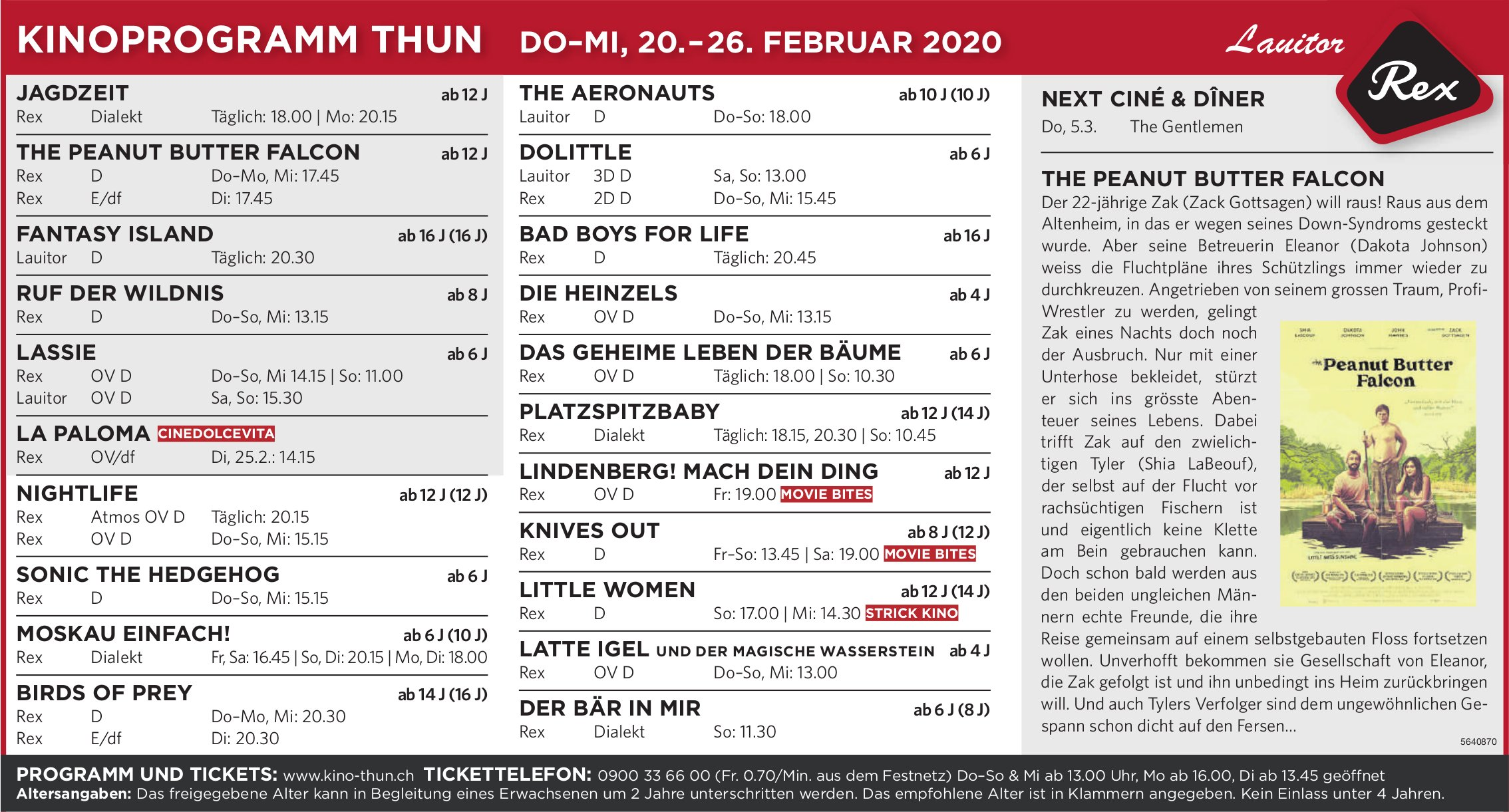 KINOPROGRAMM THUN, DO-MI, 20.-26. FEBRUAR 2020