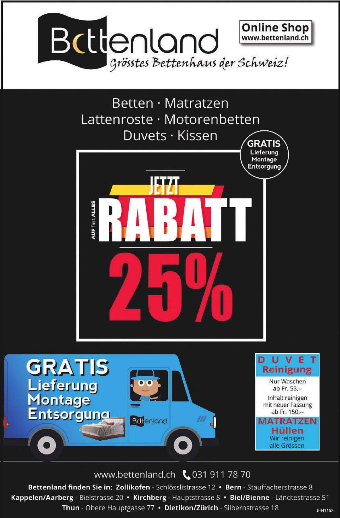 25% Rabatt auf CH-Qualität, Bettenland, Thun
