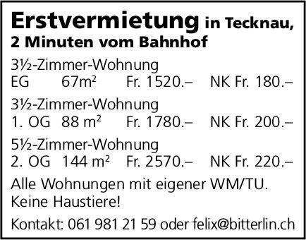 3.5- – 5.5-Zimmer-Wohnungen, Tecknau, zu vermieten