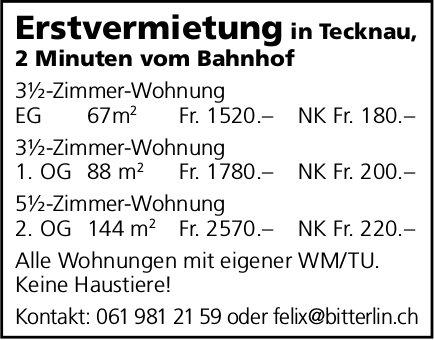 Erstvermietungen in Tecknau