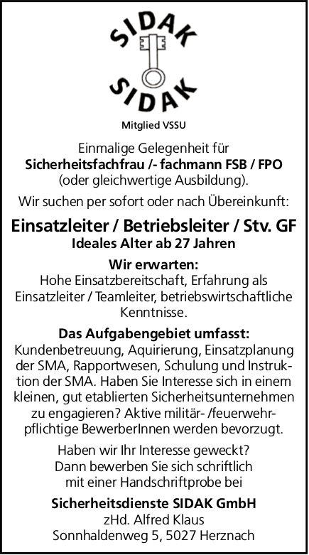 Sicherheitsfachfrau/-fachmann FSB/FPO, Einsatzleiter/Betriebsleiter/Stv. GF, Sidak GmbH, gesucht