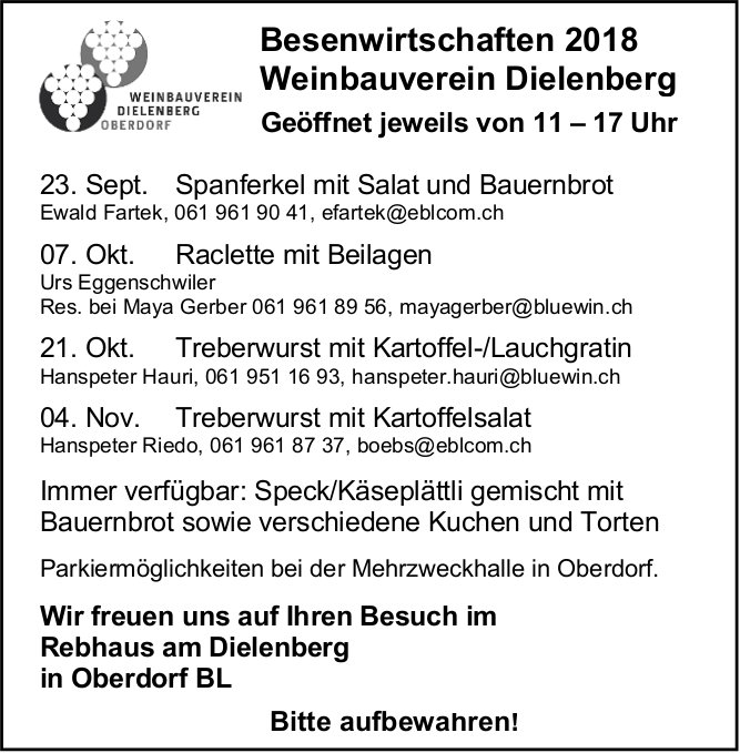 Besenwirtschaften - Programm, Weinbauverein Dielenberg, Oberdorf