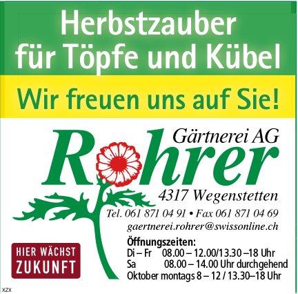 Rohrer Gärtnerei AG, Wegenstetten