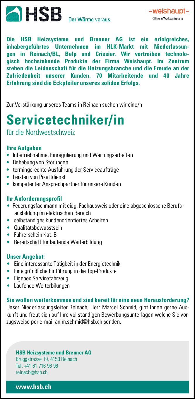 Servicetechniker/in, HSB Heizsysteme und Brenner AG, Reinach, gesucht