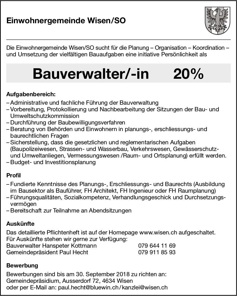 Bauverwalter/-in, Einwohnergemeinde Wisen/SO, gesucht