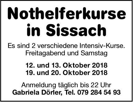 Nothelferkurse, 12./13. und 19./20. Oktober, Sissach