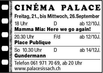 Cinéma Palace Sissach - Vorstellungen bis 26. September