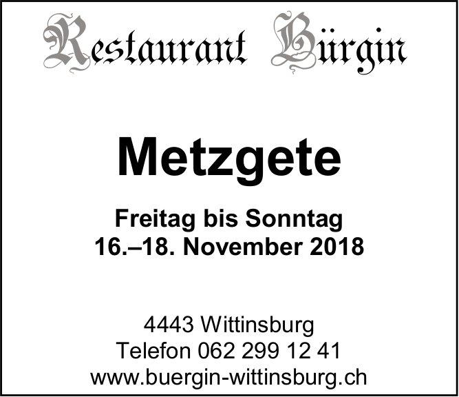 Restaurant Bürgin in Wittinsburg - Metzgete vom 16. bis 18. November