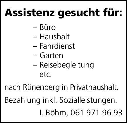 Assistenz gesucht in Rünenberg, Privathaushalt