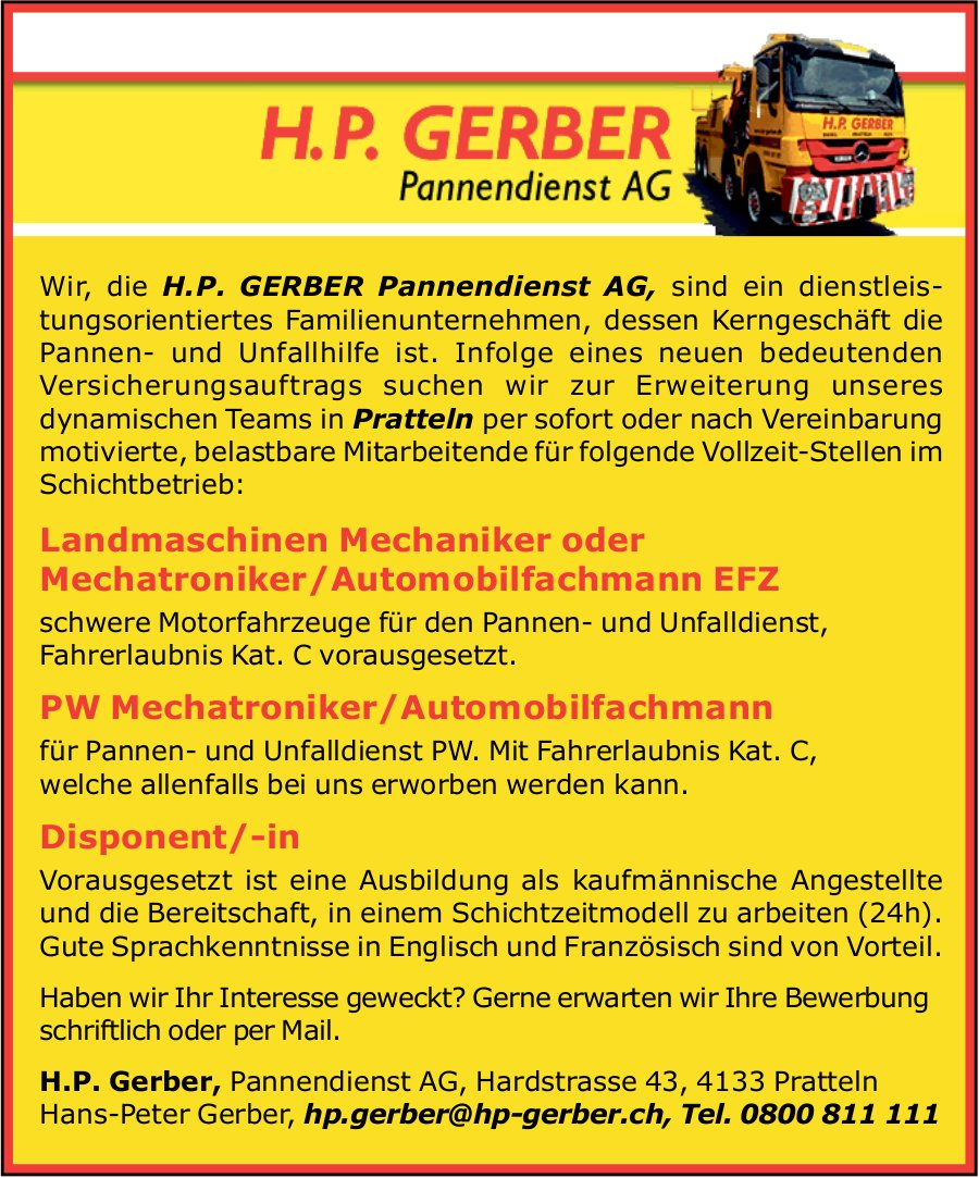 H.P. Gerber, Pannendienst AG sucht Fachkräfte, Mechaniker/Mechatroniker und Disponent/in
