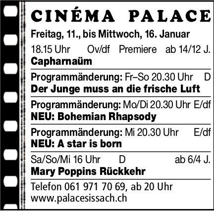 Cinéma Palace Sissach - Vorstellungen bis 16. Januar