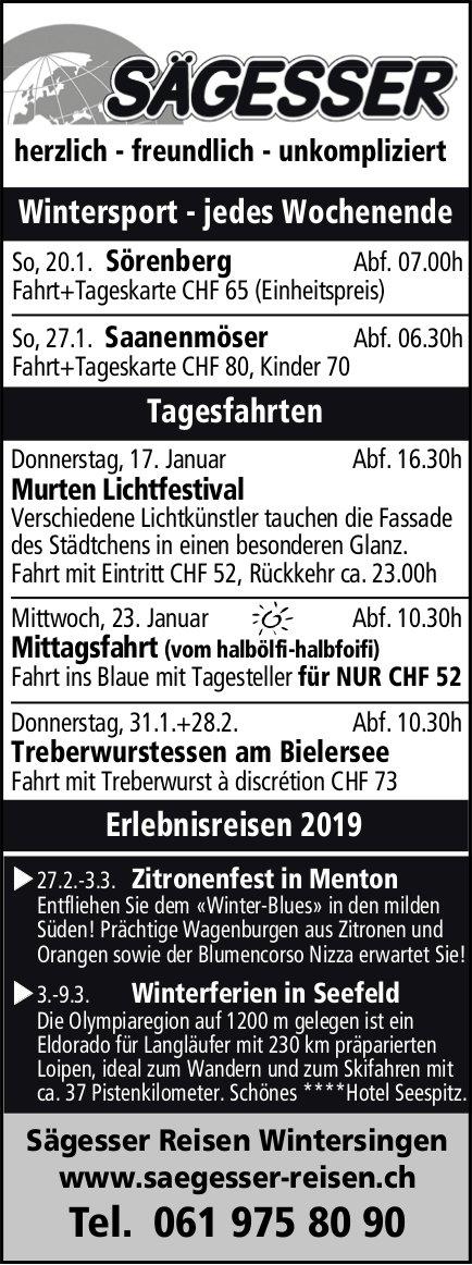 Sägesser Reisen, Wintersingen - Reiseprogramm