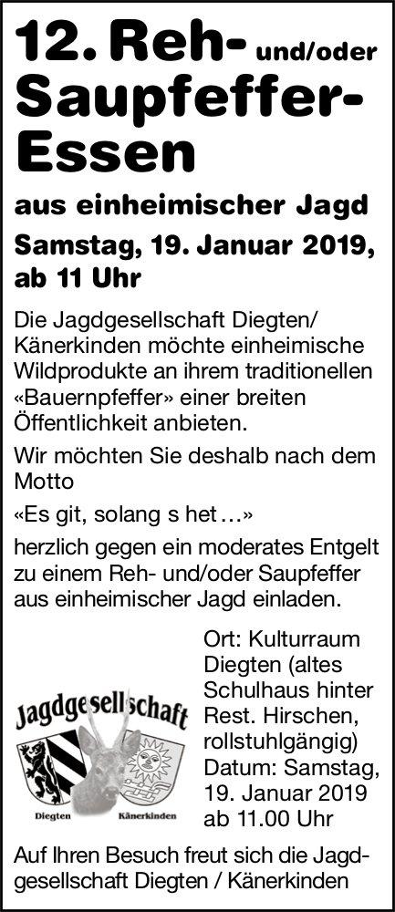 12. Reh- und/oder Saupfeffer- Essen, 19. Januar, Kulturraum Diegten