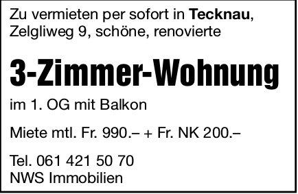 3-Zimmer-Wohnung in Tecknau zu vermieten