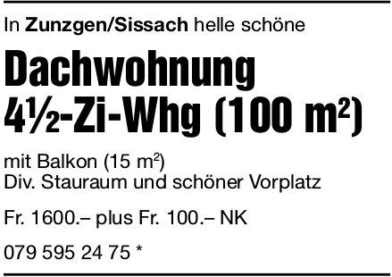 Dachwohnung 4.5-Zi-Whg in Zunzgen zu vermieten