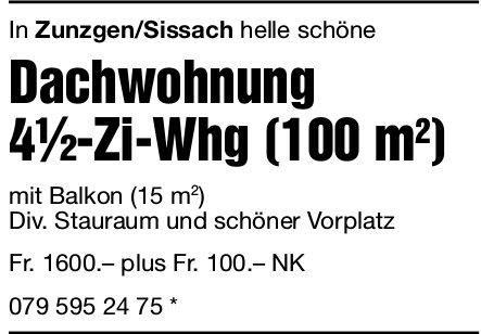 Dachwohnung 4.5-Zi-Whg in Zunzgen/Sissach