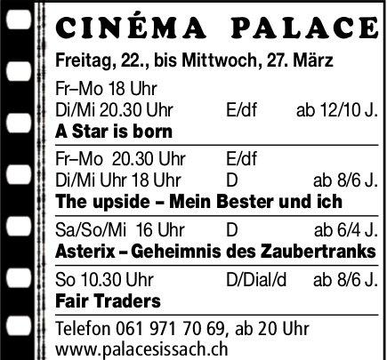 Cinéma Palace Sissach - Vorstellungen bis 27. März