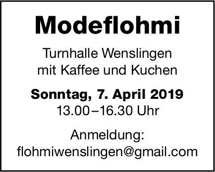Modeflohmi, 7. April, Turnhalle Wenslingen