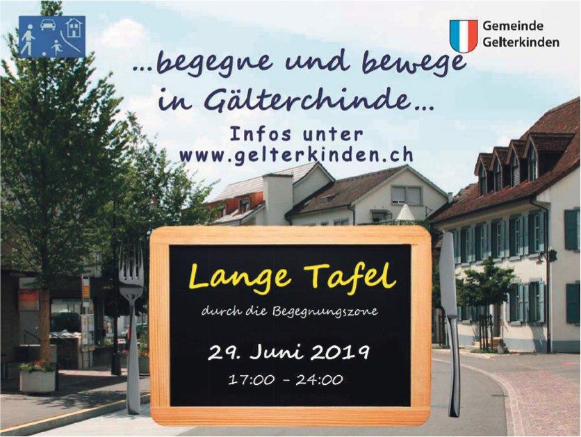 """Gemeinde Gelterkinden - """" Lange Tafel"""" am 29. Juni"""